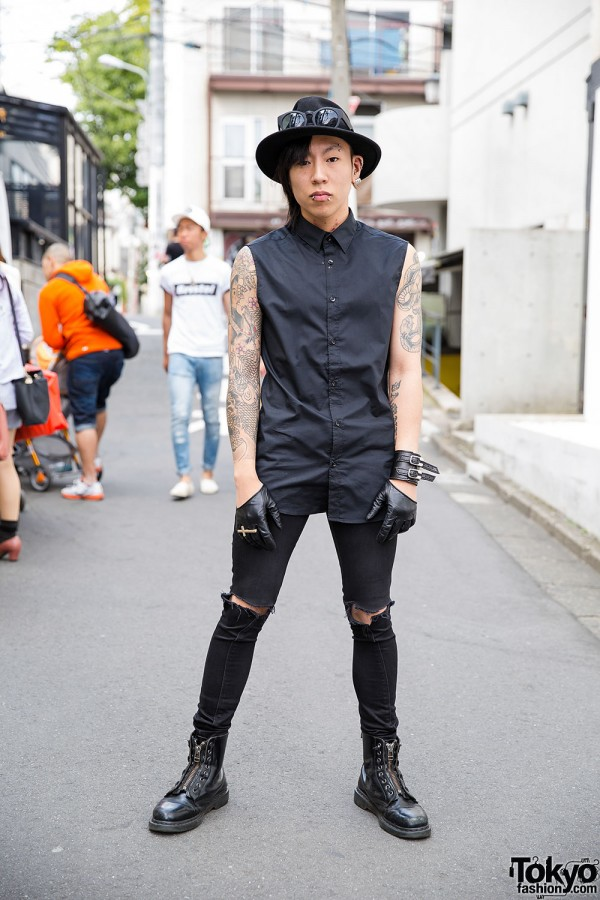 Tattooed Harajuku Guy in Black w/ Oz Abstract Jewelry, Ksubi Jeans & Dr. Martens Boots