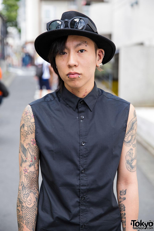 e7d9b5d8ea6e0 Tattooed Harajuku Guy in Black w/ Oz Abstract Jewelry, Ksubi Jeans & Dr.  Martens Boots