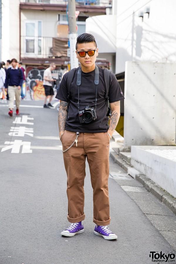 Harajuku Guy in Champion, swellmob, Kata Photo Backpack & Converse x Stussy Sneakers