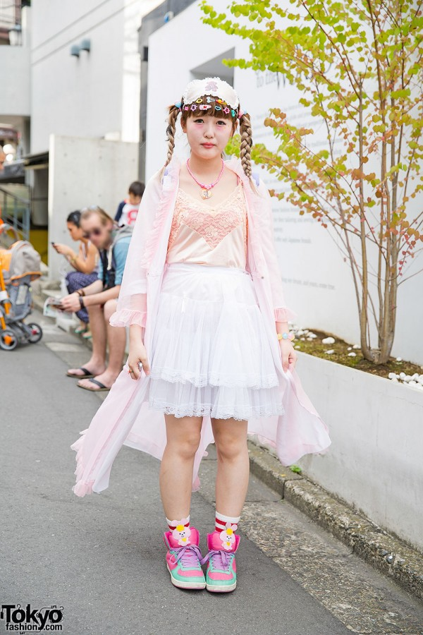 Harajuku Girl in Sheer Pastel Fashion