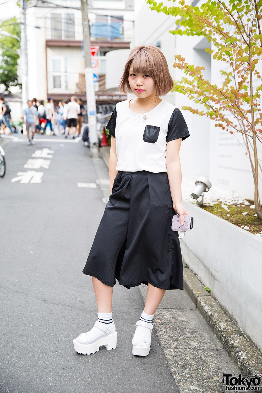 Harajuku Girl in Nadia Wide Leg Pants, Platform Sandals & Socks