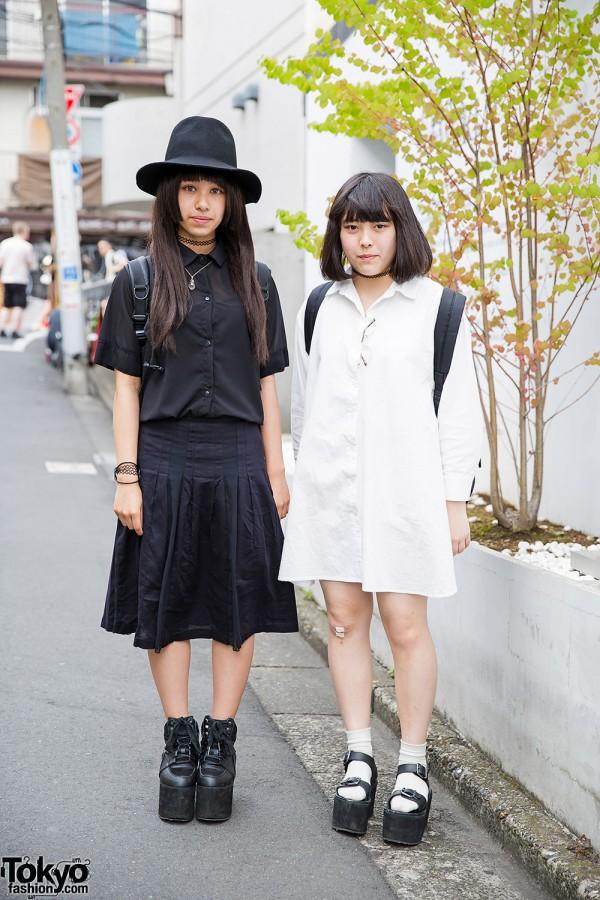 Harajuku Girls in Black & White w/ YRU Platforms, Tattoo Necklaces & Backpacks