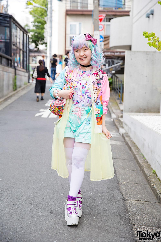 Harajuku Girl 39 S Pastel Hair Colorful Fashion W 6 Dokidoki Milklim Kinji Uniqlo Swimmer