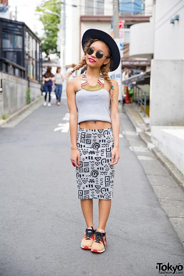 Harajuku Girl in Twin Braids w/ Crop Top, Graphic Skirt & Nike Cork Sneakers