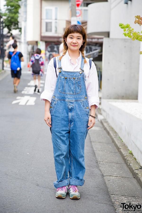 Harajuku Girl in Twin Braids, Denim Overalls, Ralph Lauren & New Balance
