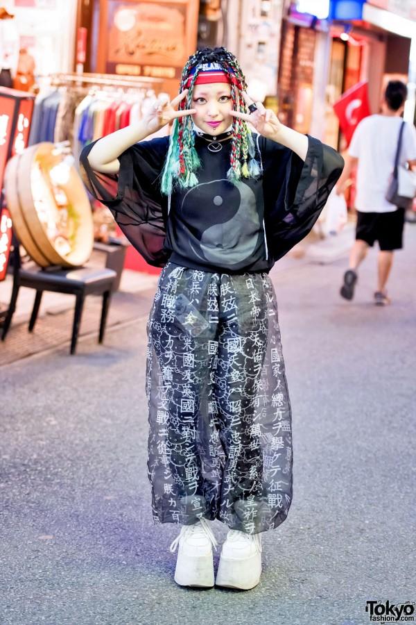 Harajuku Girl in Sheer Fashion w/ Buccal Cone, Hello Kitty, MYOB & Punk Do