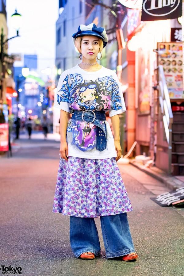 Dog Harajuku Staffer w/ Betty Boop, Choker & Wide Leg Denim