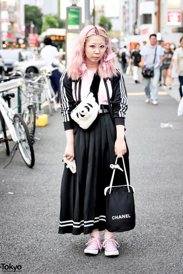 Jeremy Scott Adidas Cut Out Jacket, Pink Hair & Panda Bag in Harajuku