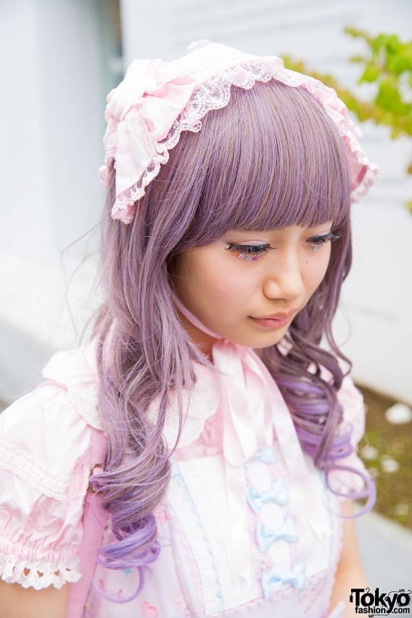Pink katyusha and purple hair