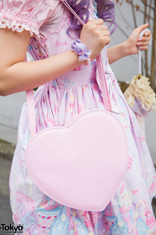 Pink heart-shaped bag