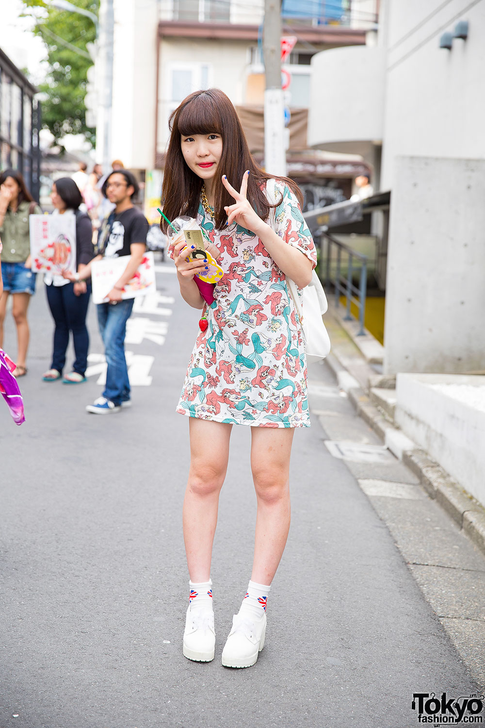 Harajuku Girl In Disney Ariel T Shirt Dress Wego Backpack Spinns Shoe