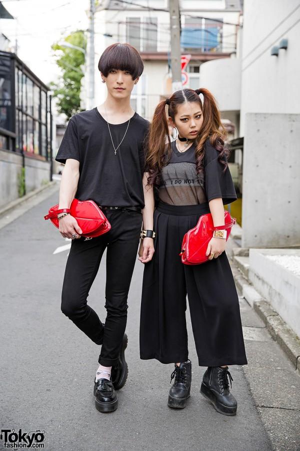 Harajuku Couple in Black w/ Lips Clutches, Emoda, Lad Musician & Vivienne Westwood