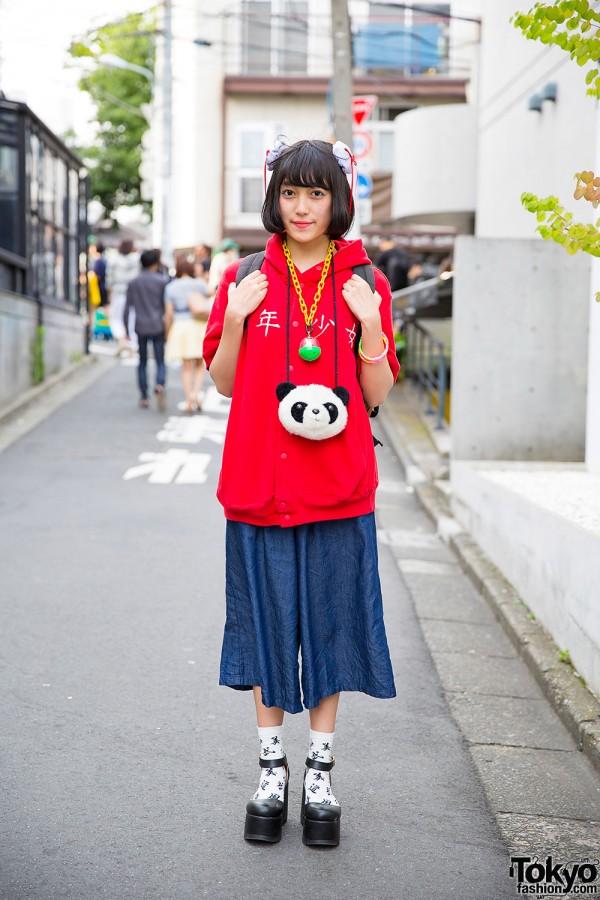 Itazura Kanji Hoodie, Gashapon Necklace, Panda Pouch & Culottes in Harajuku