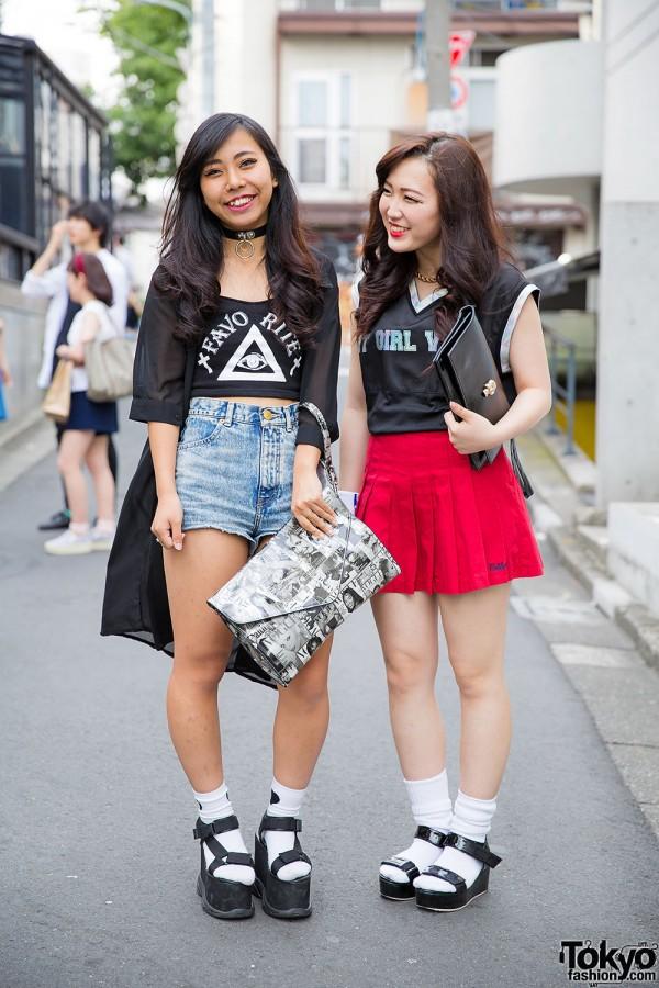 Harajuku Girls in Fig&Viper w/ Platform Sandals & Clutches