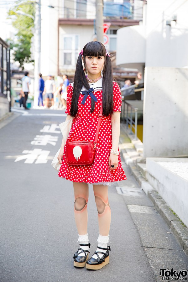 Nile Perch Polka Dot Dress & Twin Tails