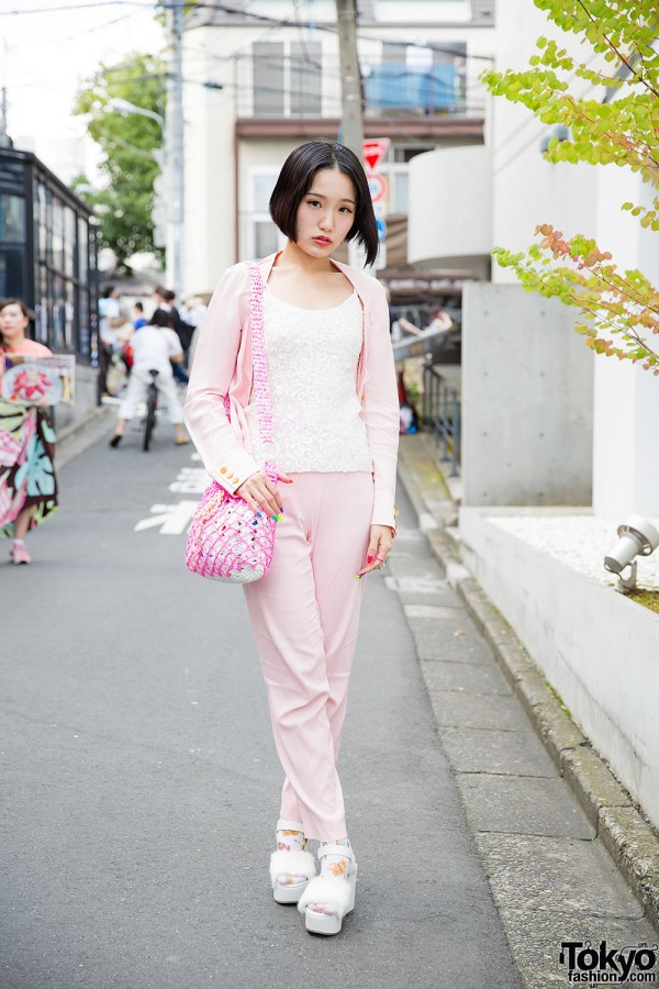 Harajuku Girl in Pink Vivienne Westwood Fashion w/ The Virgin Mary & Bubbles Items