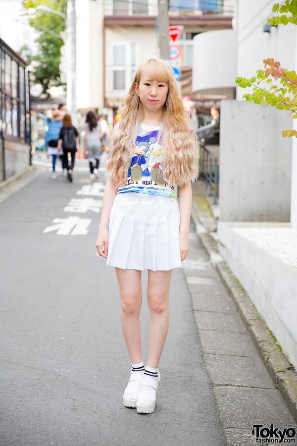 Harajuku Girl in Mickey & Donald Crop Top, Pleated Skirt & Socks w/ Sandals