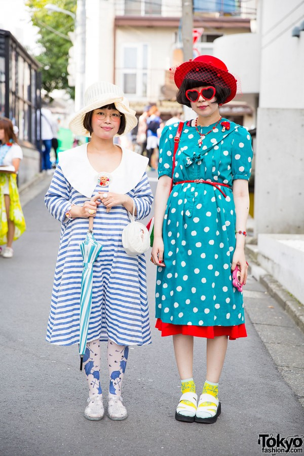 Harajuku Girls in Vintage Styles w/ Hats, Polka Dots & Stripes