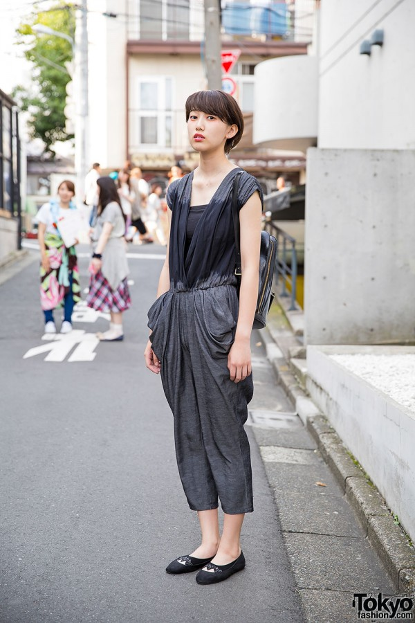 Harajuku Girl in Resale Jumpsuit, Leather Backpack and H&M Flats