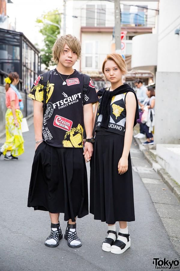 Blonde Harajuku Couple in Graphic Tops & Sandals w/ Rirandture, Justin Davis & Diesel