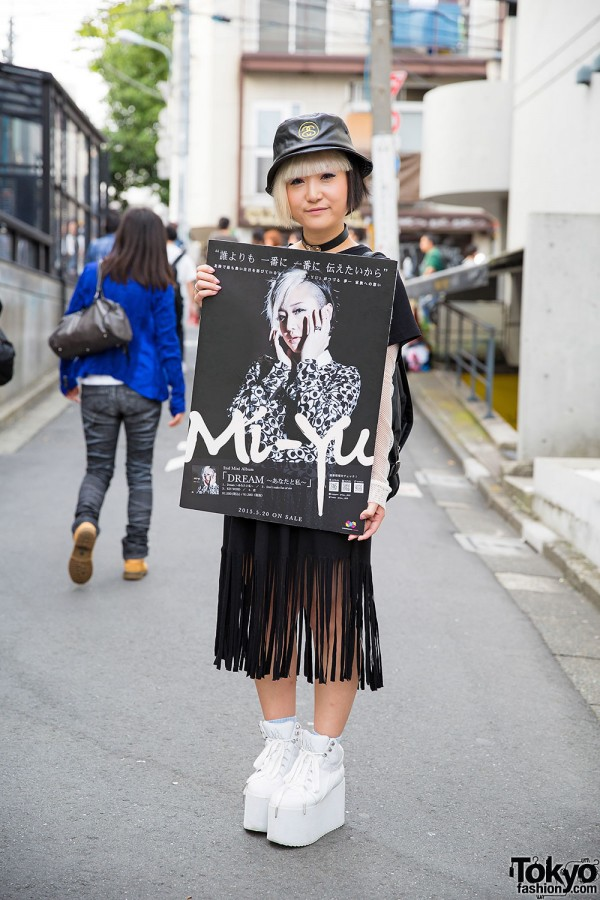 Mi-Yu in Harajuku in Kawi Jamele Dress, UNIF Backpack & YRU Flatforms