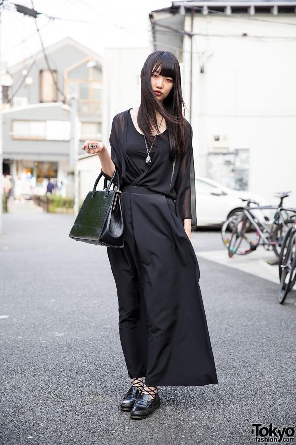 Harajuku Girl in All Black w/ Sheer Top, Maxi Skirt & Monomania Accessories