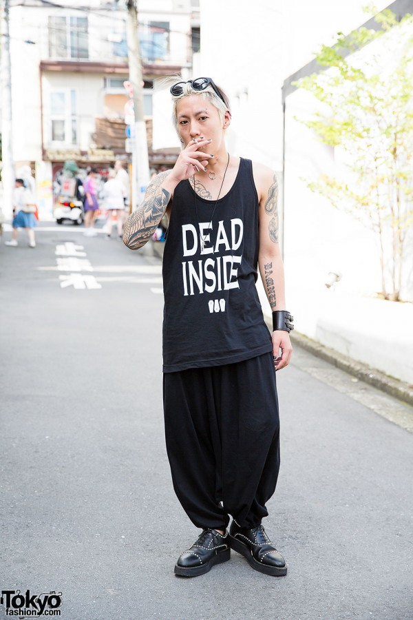 Tattooed & Pierced Harajuku Guy in We Are All Dead & Oz Abstract