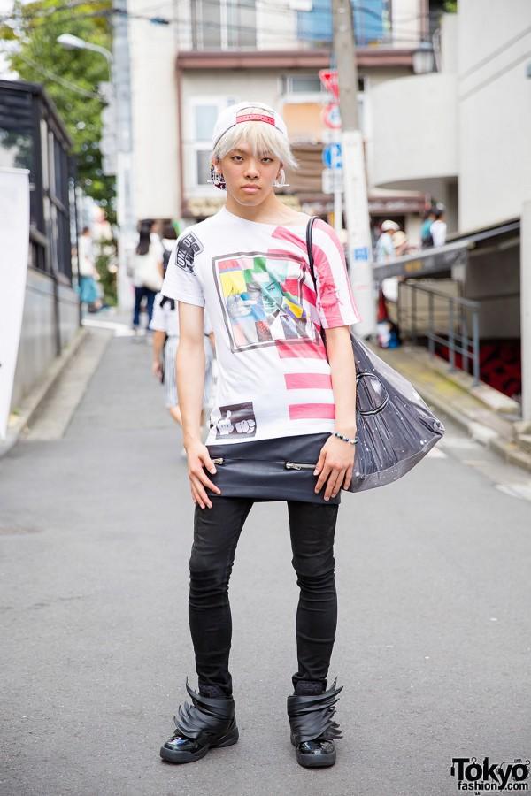 Harajuku Guy in Skirt Over Pants w/ Alexander Wang, MYOB & Adidas x Jeremy Scott