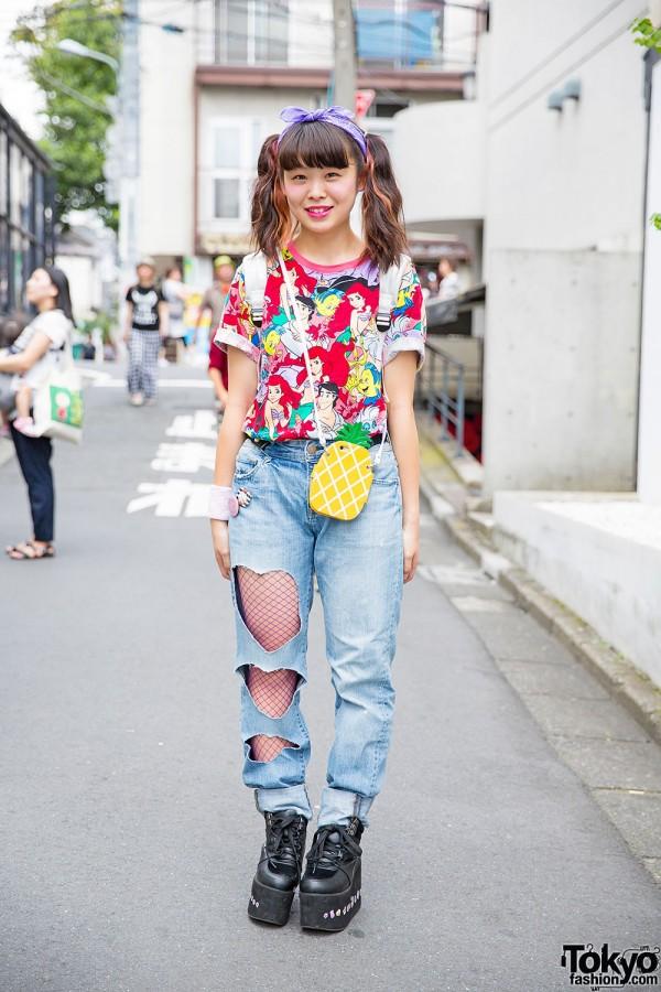 Harajuku Girl in Twin Tails, Ariel Disney T-Shirt & Cutout Heart Jeans