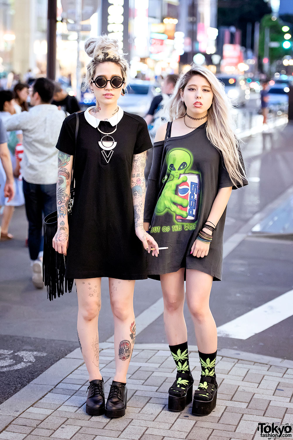Harajuku Girls W Tattoos Piercings Platform Sandals