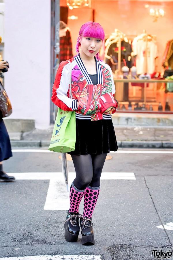 Adidas Dragon Jacket, Pink Hair, Kanji Bag & YRU Platforms in Harajuku