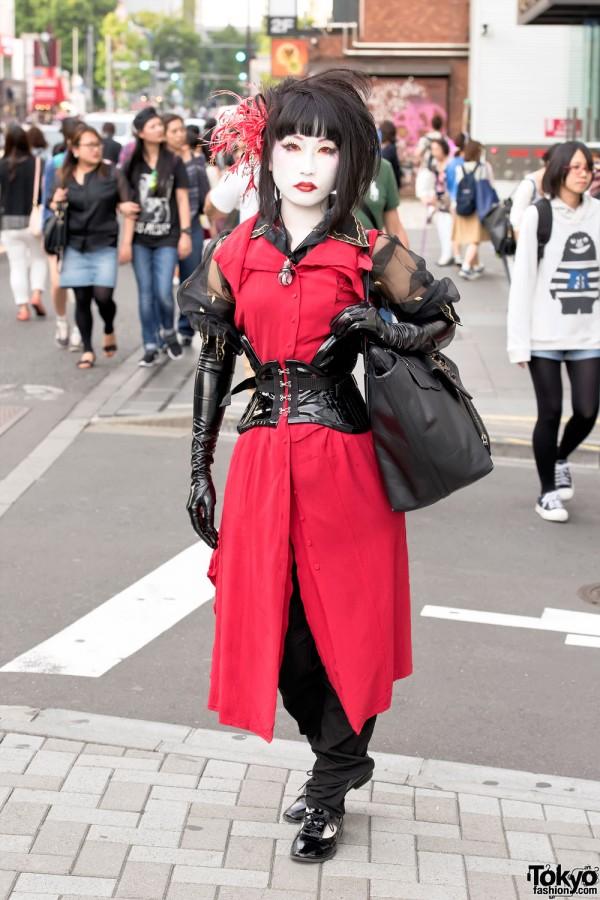 Harajuku Shironuri in Alice Auaa, PureOne Corset Works & Latex Gloves