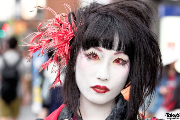 Japanese Shironuri Makeup & Flower Headdress