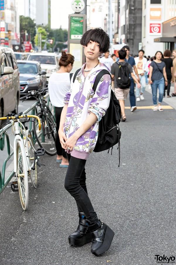 Harajuku Guy in Milkboy Hoodie, Monomania Skinny Jeans & Yosuke Platforms