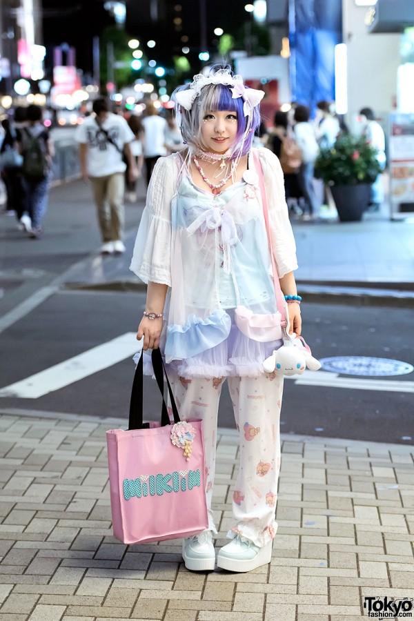 Cat Ears, Cinnamoroll & Sheer Pastel Fashion by Milklim, Listen Flavor & Sakura1Tama in Harajuku