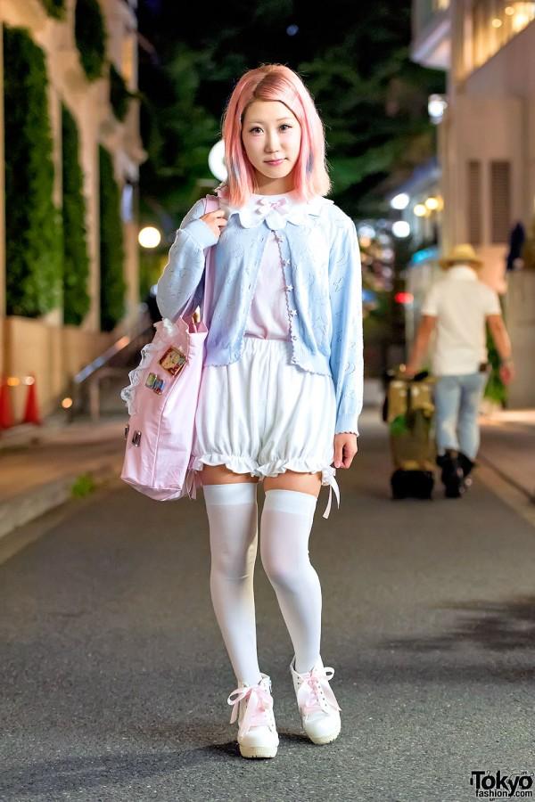 Pastel Nile Perch Fashion, Pink Hair & Nanatsu no Taizai Pins in Harajuku