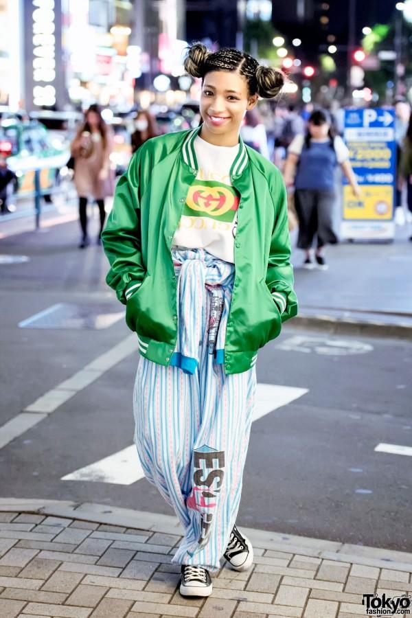 Harajuku Girl in Pinnap Fashion w/ Vintage Esleep & Converse High Tops
