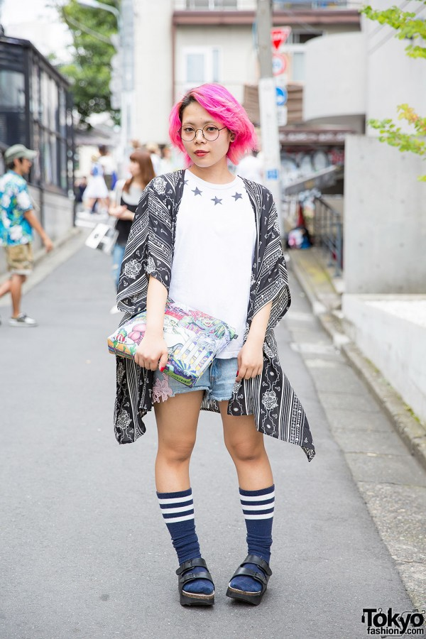 Pink-Haired Harajuku Girl Wearing Fig&Viper Shorts, Monki & WEGO