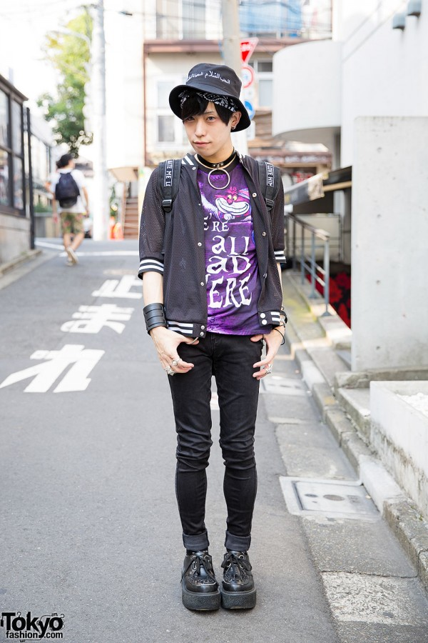 Harajuku Guy in Cheshire Cat Tee, Glad News Jacket & Vivienne Westwood Rings