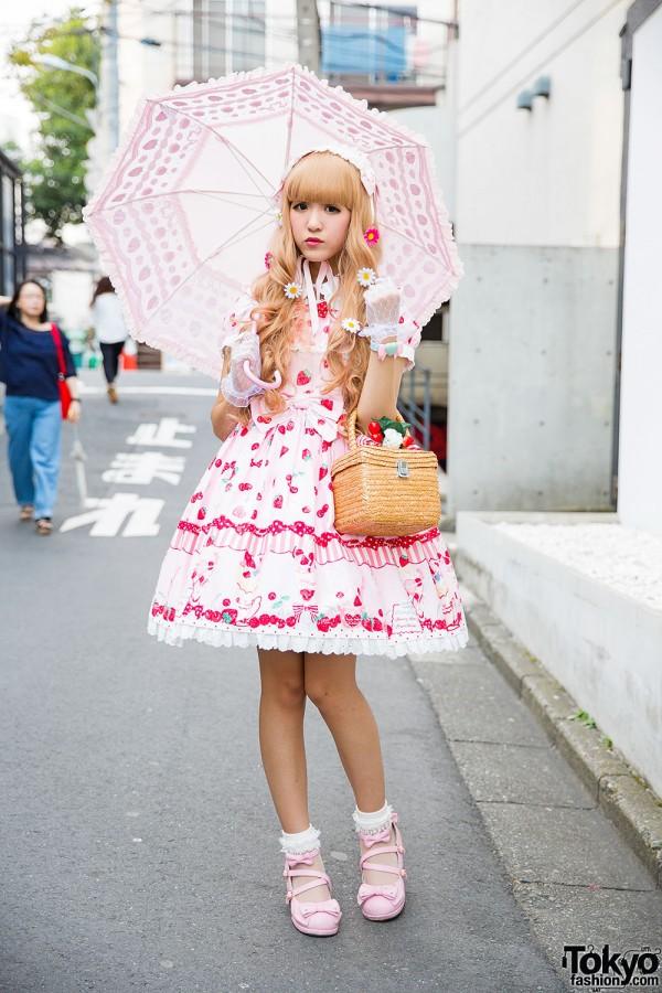 Harajuku Girl in Strawberry Lolita Outfit