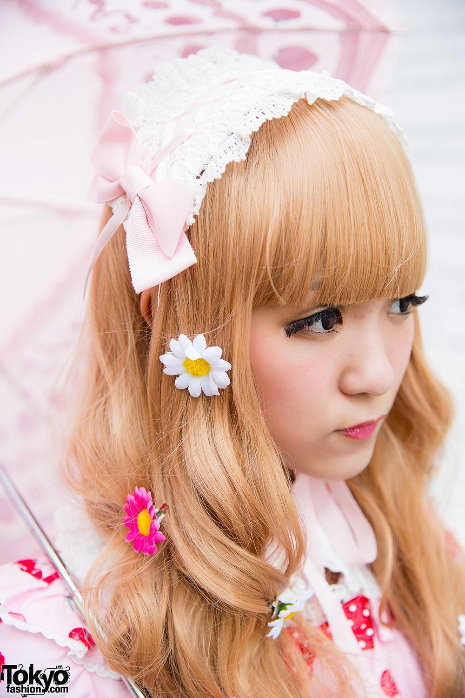 Strawberry Print Angelic Pretty Lolita Dress W Parasol
