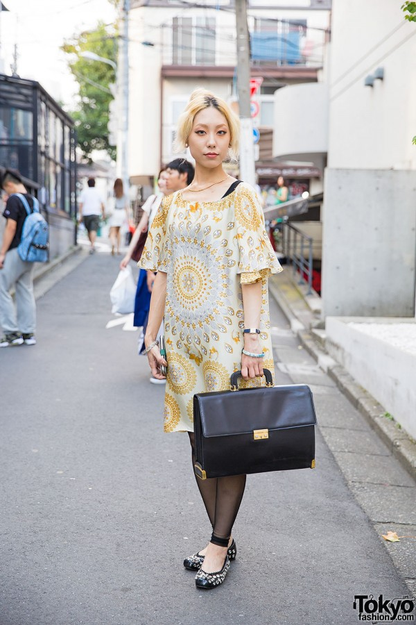 Harajuku Girl w/ Neck Tattoo in Gallarda Galante Dress, Kalliste Flats & Vintage Briefcase