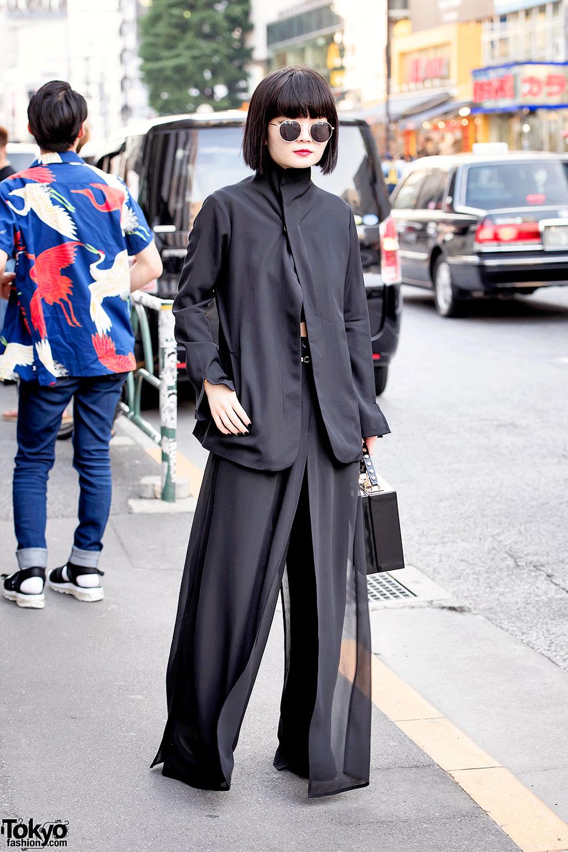all black tokyo style w   yohji yamamoto jacket  sheer pants  u0026 box purse