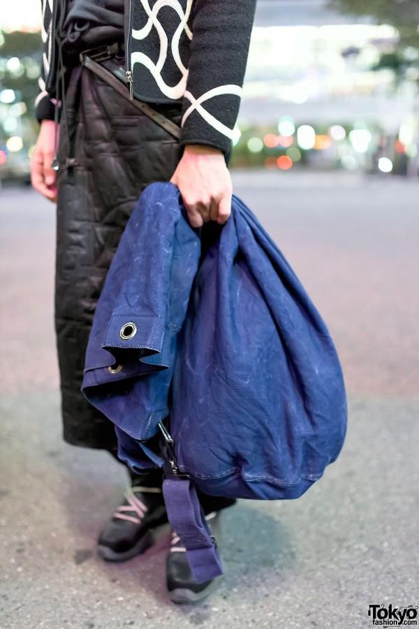 Denim Drawstring Duffle Bag