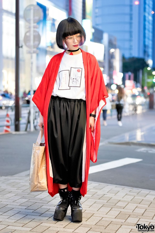 Harajuku Girl w/ Kimono Jacket, Comme Des Garcons & Purple Under Dye Hair