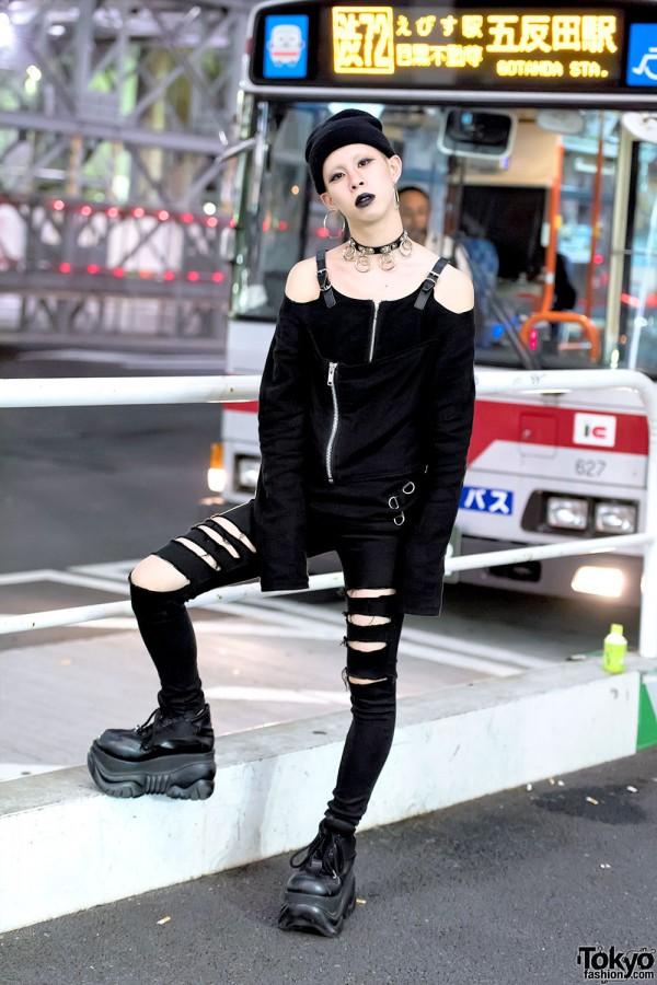 Dark Tokyo Street Style w/ Black Lipstick, Fetis & Demonia Boots