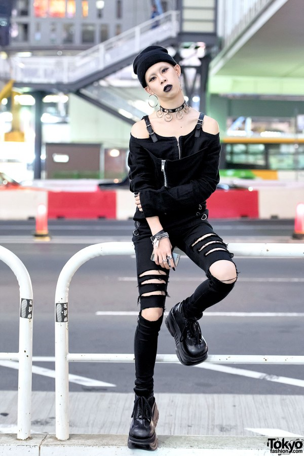 Ripped Skinny Jeans & Demonia Boots in Tokyo