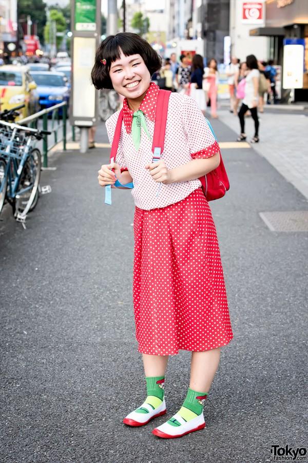 Harajuku Girl in Polka Dots w/ Gaspard and Lisa Backpack & My Melody