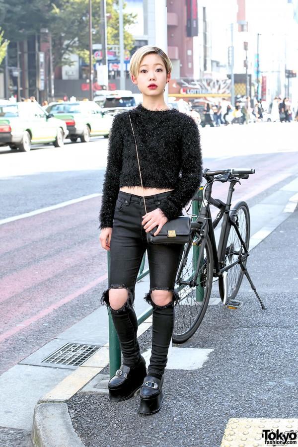 Harajuku Girl in MinkPink Sweater, UNIF Ripped Jeans & Pameo Pose Platforms