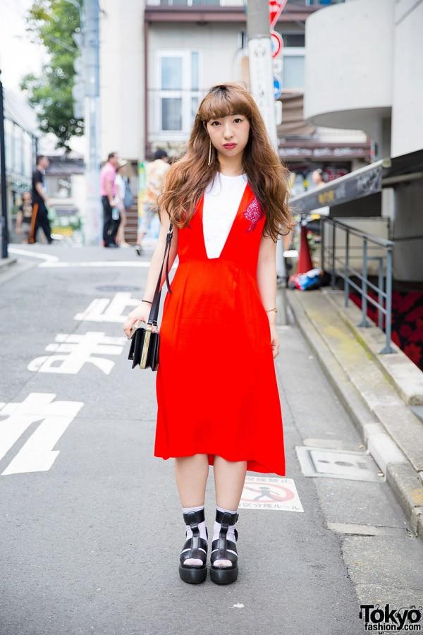 Harajuku Girl in Toga Dress, Dr. Martens Sandals w/ Socks & H&M Purse